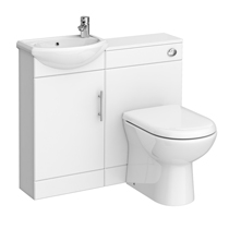 Sienna W920 x D200mm High Gloss White Vanity Unit Cloakroom Suite + D-shaped pan Medium Image