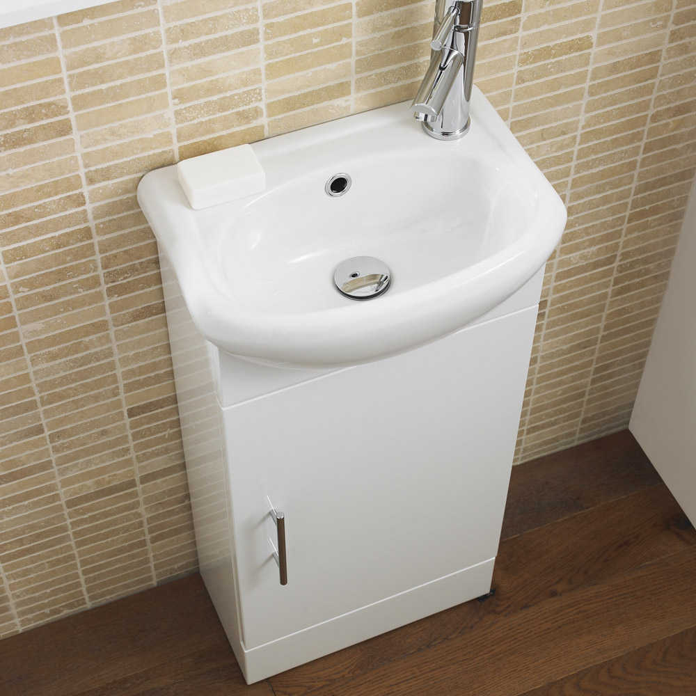 Sienna 420mm Vanity Unit (High Gloss White - Depth 200mm) Profile Large Image