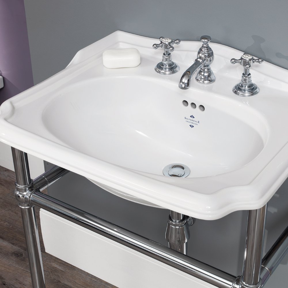 Silverdale Balasani 600mm Wide Basin with Chrome Stand profile large image view 2
