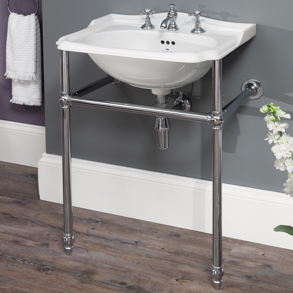 Silverdale Balasani 600mm Wide Basin with Chrome Stand profile large image view 1