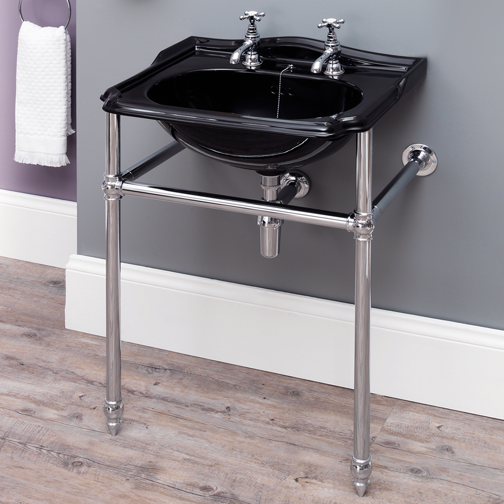 Silverdale Balasani 600mm Wide Black Basin with Chrome Stand profile large image view 1