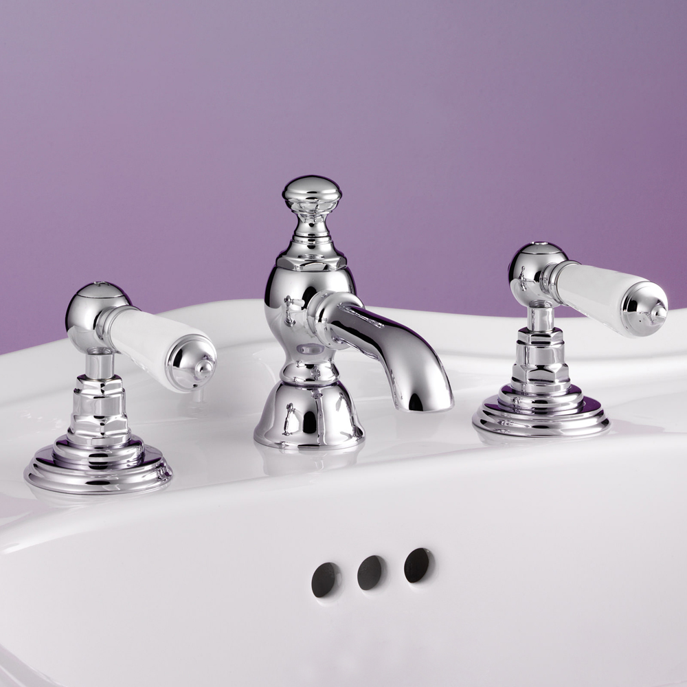 Silverdale Berkeley 3 Hole Basin Deck Tap with Pop Up Waste Chrome Large Image