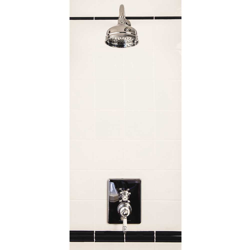 """Silverdale Concealed Thermostatic Shower Valve, Overhead Arm & 5"""" Rose Large Image"""