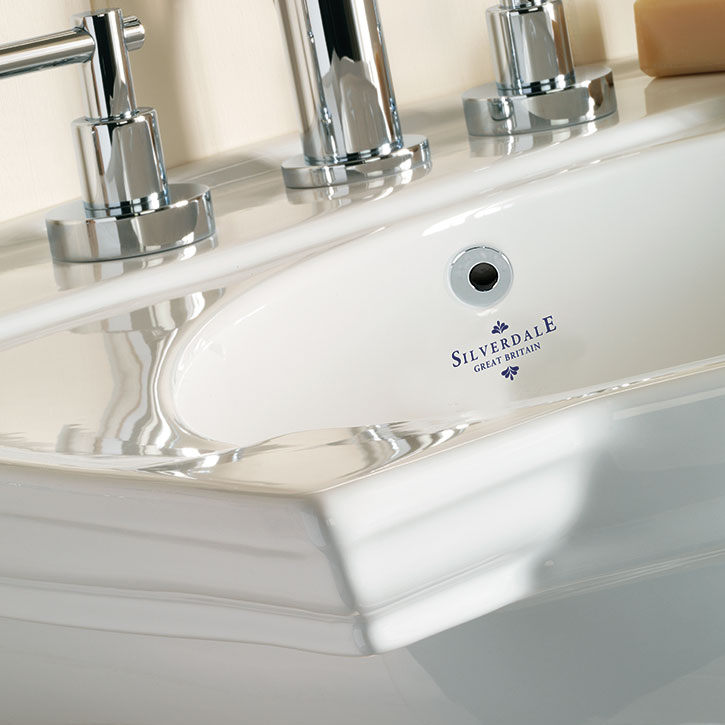 Silverdale Damea 650mm Wide Basin with Semi-Pedestal profile large image view 2