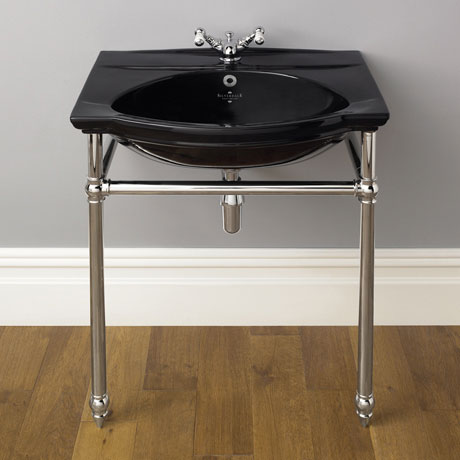 Silverdale Damea 650mm Wide Black Basin with Chrome Stand