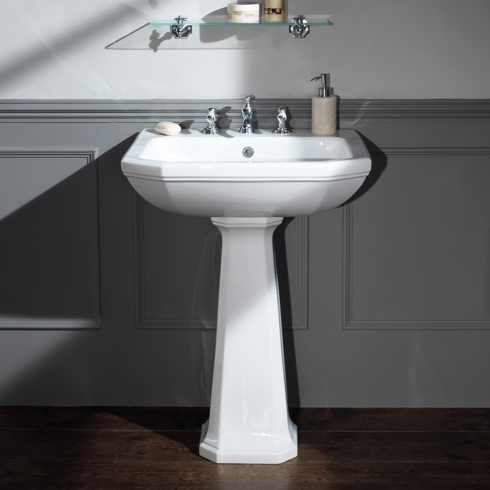 Silverdale Empire Art Deco 620mm Wide Basin with Full Pedestal profile large image view 1
