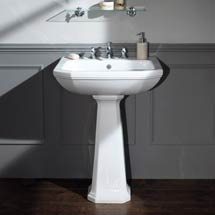 Silverdale Empire Art Deco 620mm Wide Basin with Full Pedestal Medium Image