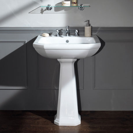 Silverdale Empire Art Deco 620mm Wide Basin with Full Pedestal