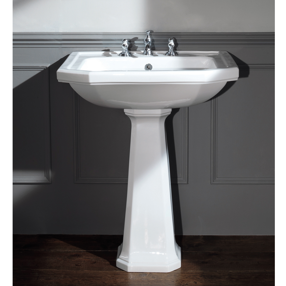 Silverdale Empire Art Deco 700mm Wide Basin with Full Pedestal profile large image view 1