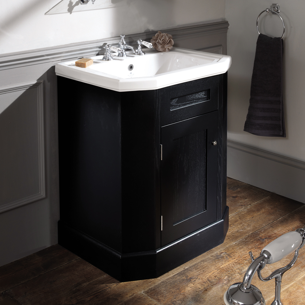 Silverdale Empire Art Deco 700mm Wide Vanity Cabinet - Ebony Black Large Image