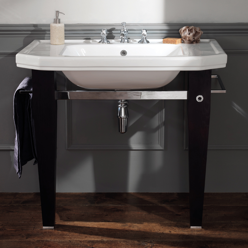 Silverdale Empire Art Deco 920mm Basin inc Luxury Solid Wood & Chrome Stand profile large image view 3