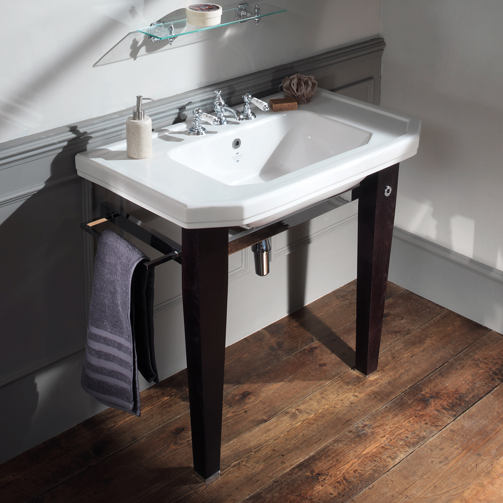 Silverdale Empire Art Deco 920mm Basin inc Luxury Solid Wood & Chrome Stand profile large image view 1