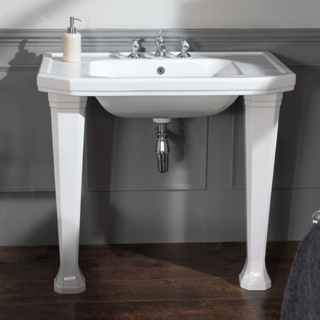 Silverdale Empire Art Deco 920mm Console Basin inc Ceramic Legs