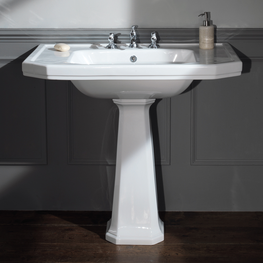Silverdale Empire Art Deco 920mm Wide Basin with Full Pedestal Large Image