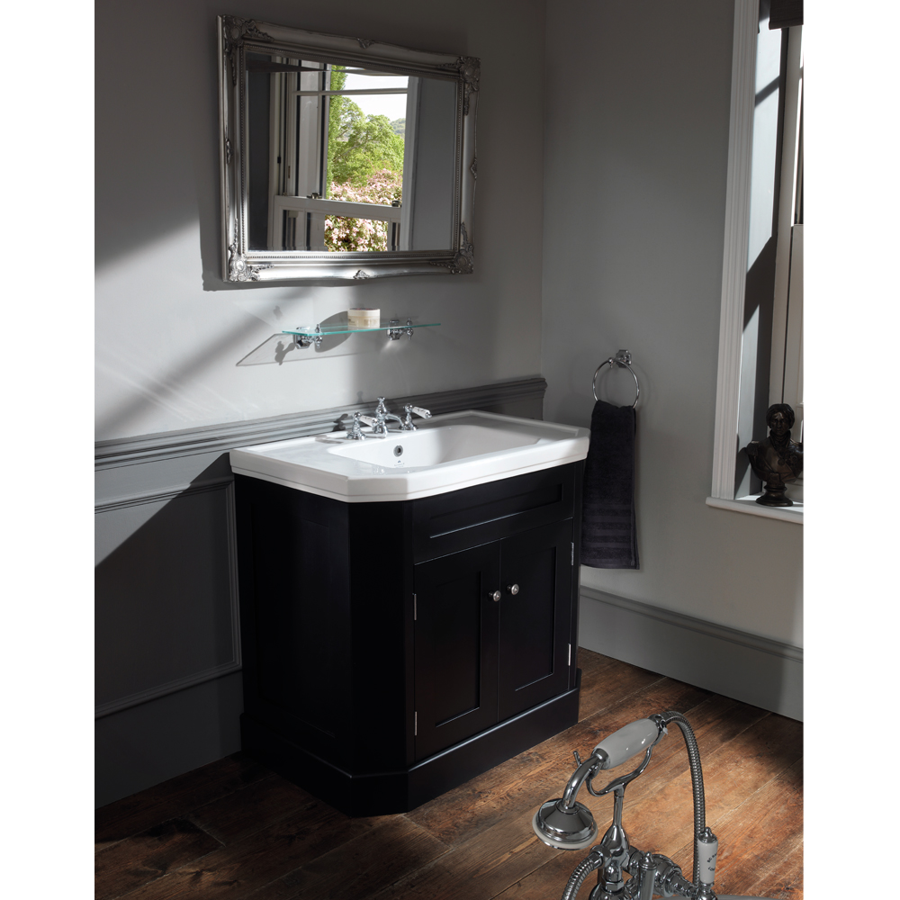 Silverdale Empire Art Deco 920mm Wide Vanity Cabinet - Ebony Black Feature Large Image