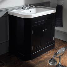 Silverdale Empire Art Deco 920mm Wide Vanity Cabinet - Ebony Black Medium Image