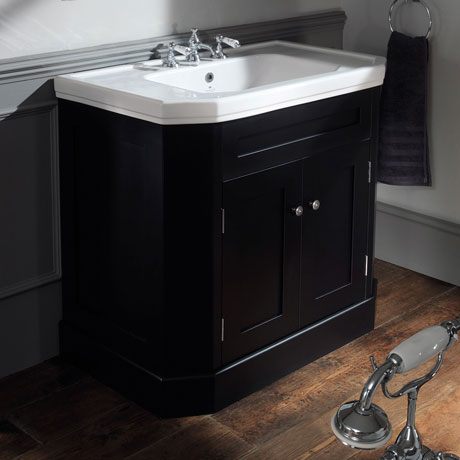 Silverdale Empire Art Deco 920mm Wide Vanity Cabinet - Ebony Black