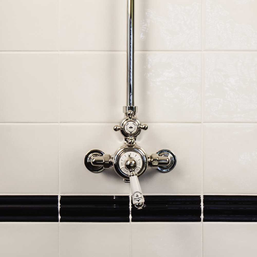 "Silverdale Exposed Thermostatic Shower Valve, Overhead Arm, Riser & 5"" Rose profile large image view 3"