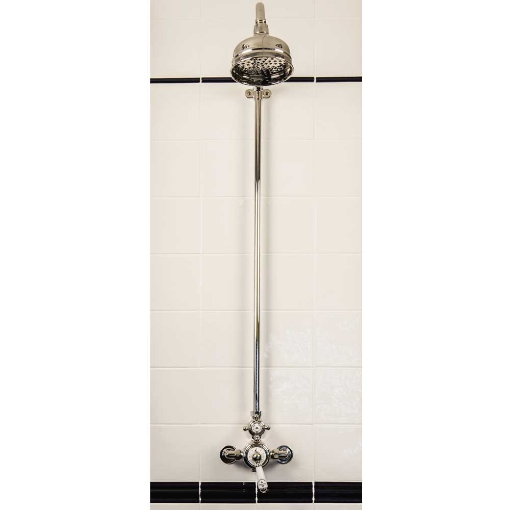 "Silverdale Exposed Thermostatic Shower Valve, Overhead Arm, Riser & 5"" Rose profile large image view 1"