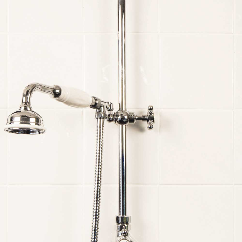 "Silverdale Exposed Thermostatic Valve w Diverter, Arm, 5"" Rose, Riser & Handset Feature Large Image"