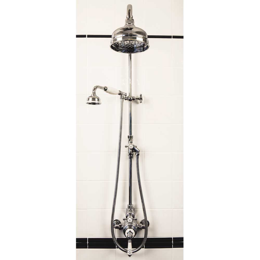 "Silverdale Exposed Thermostatic Valve w Diverter, Arm, 5"" Rose, Riser & Handset Large Image"