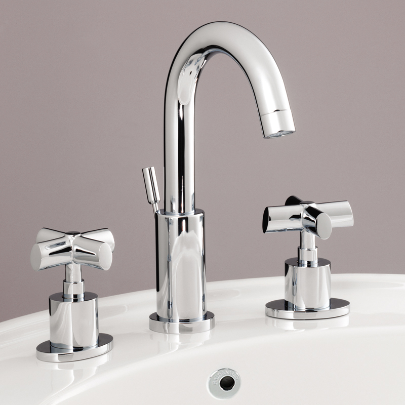 Silverdale Highgrove 3TH Basin Mixer with Pop Up Waste Chrome Large Image