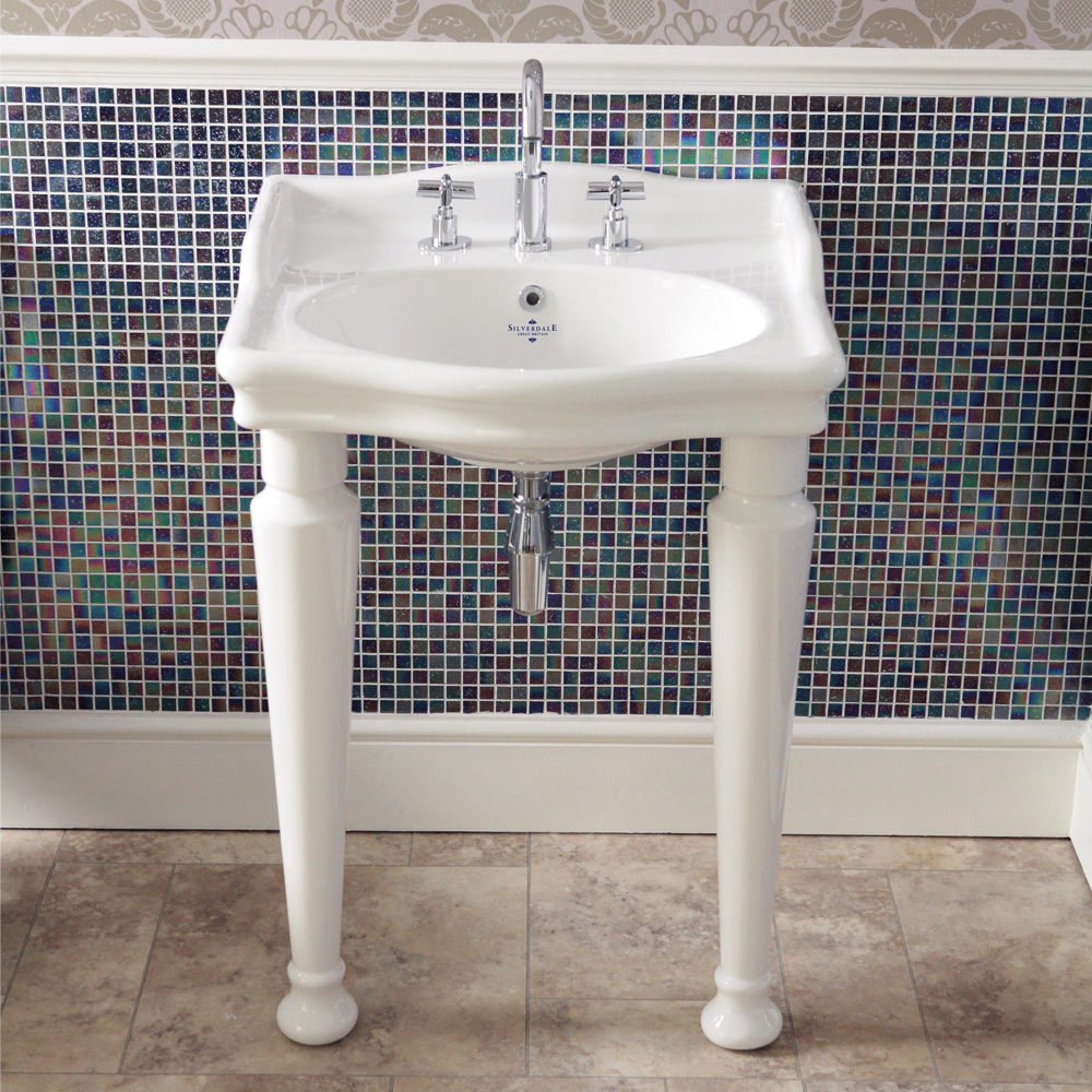 Silverdale Hillingdon Traditional Console Basin inc Legset - 3 Tap Hole profile large image view 1