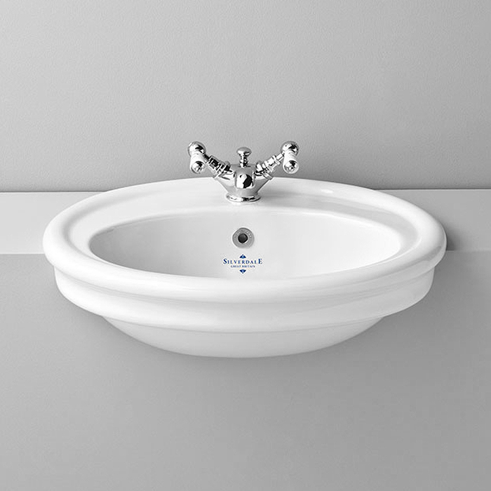 Silverdale Hillingdon Traditional Semi Recessed Basin - 600mm Wide Large Image