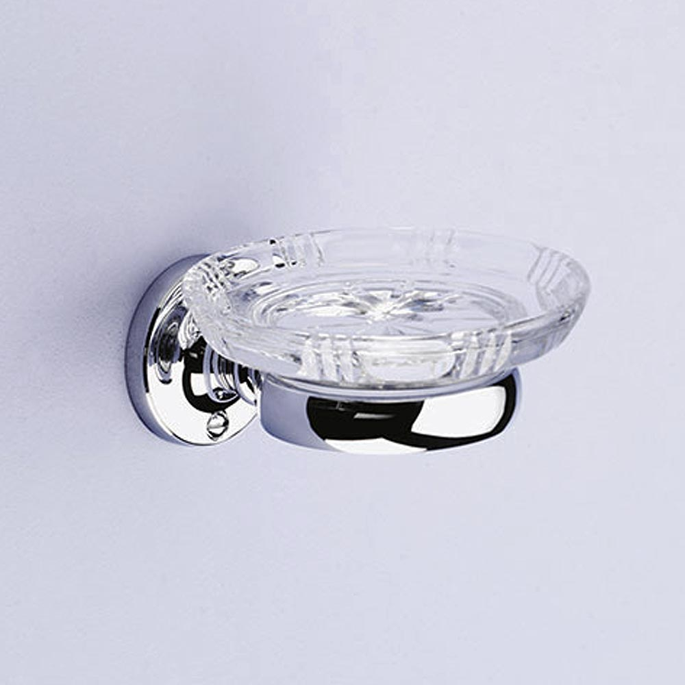 Silverdale Luxury Berkeley Crystal Soap Dish - Chrome profile large image view 1
