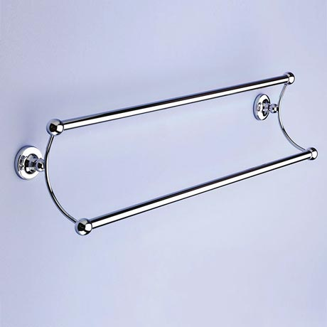 Silverdale Luxury Berkeley Double Towel Rail (525mm Wide - Chrome)