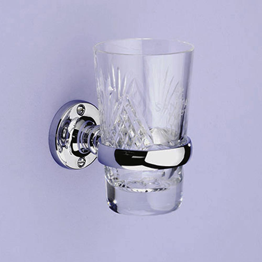 Silverdale Luxury Berkeley Tumbler Holder & Crystal Glass Tumbler - Chrome profile large image view 1