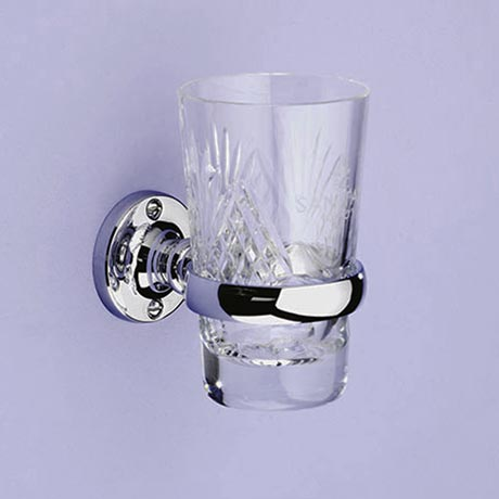 Silverdale Luxury Berkeley Tumbler Holder & Crystal Glass Tumbler - Chrome
