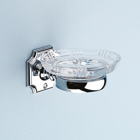Silverdale Luxury Victorian Crystal Soap Dish - Chrome