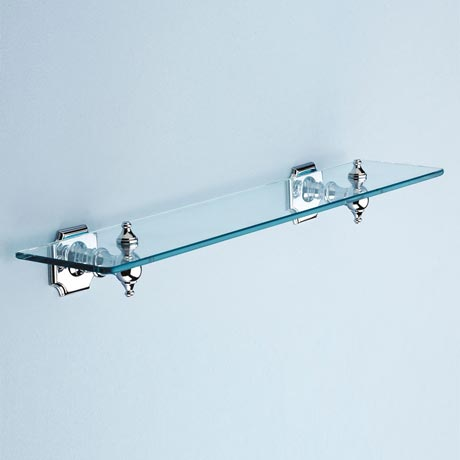 Silverdale Luxury Victorian Glass Shelf (495mm Wide - Chrome)