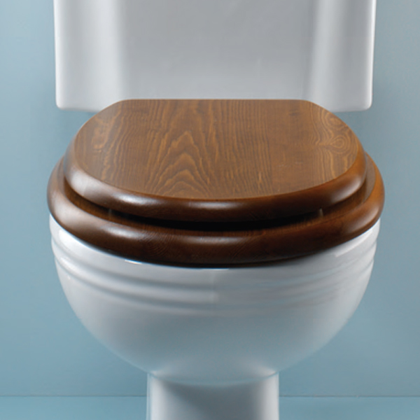 Silverdale Traditional Luxury Dark Oak Wooden Toilet Seat profile large image view 1