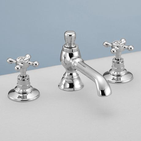 Silverdale Victorian 3 Hole Basin Tap with Pop Up Waste Chrome