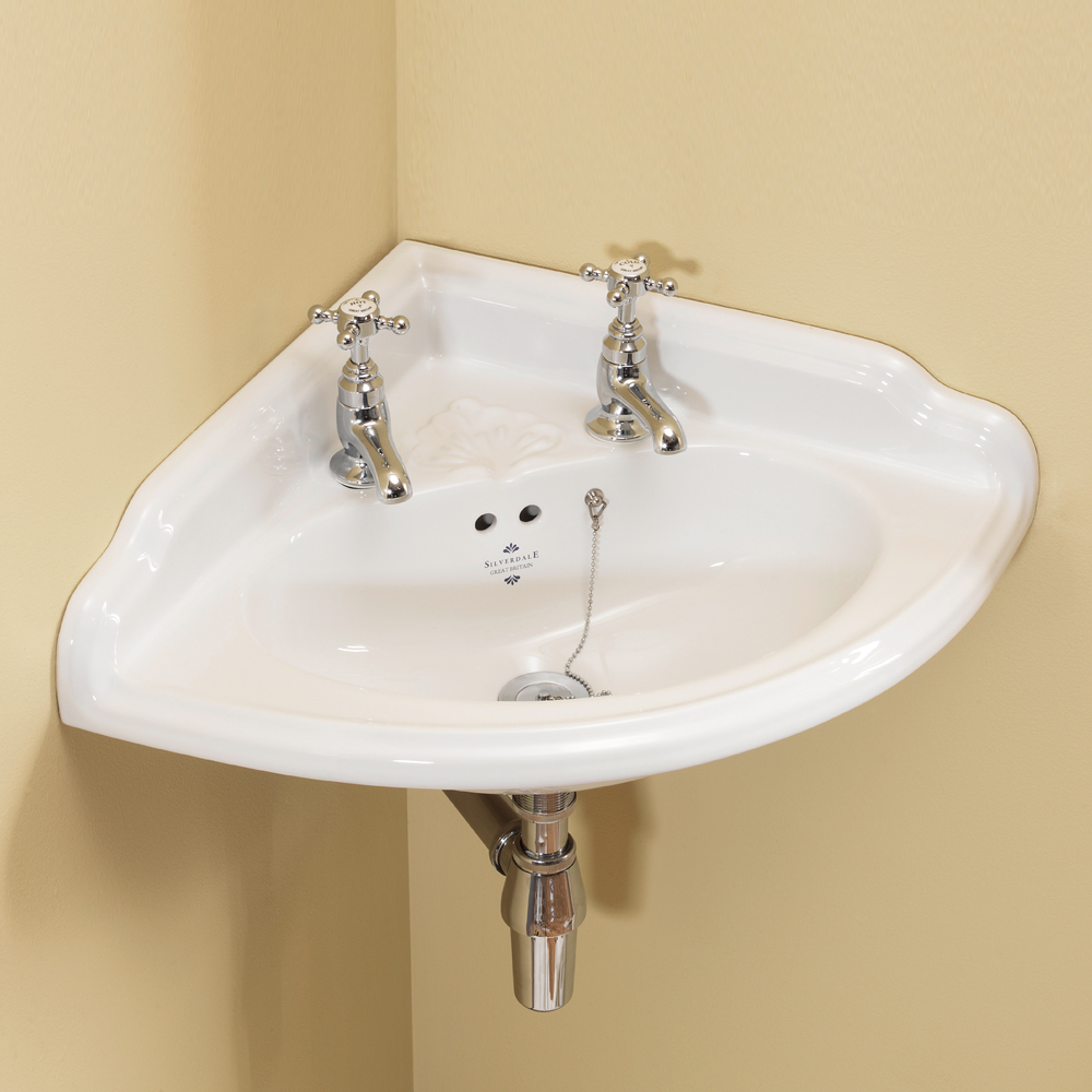 Silverdale Victorian 465mm Corner Cloakroom Basin - 2 Tap Hole Large Image