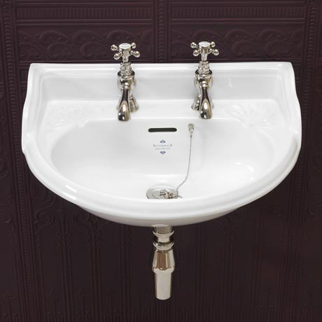 Silverdale Victorian Wall Mounted Cloakroom Basin (530mm Wide - 2 Tap Hole)