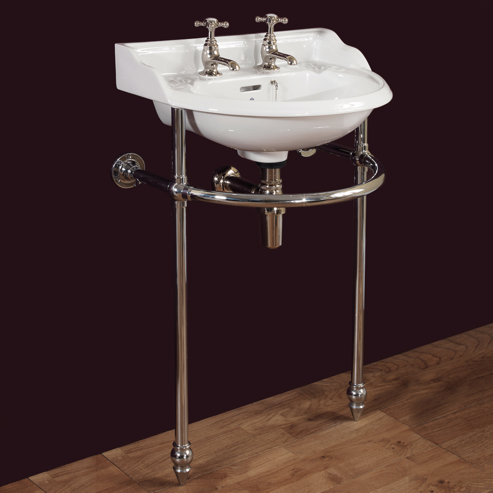 Silverdale Victorian Cloakroom Basin with Chrome Stand (530mm Wide - 2 Tap Hole) Profile Large Image