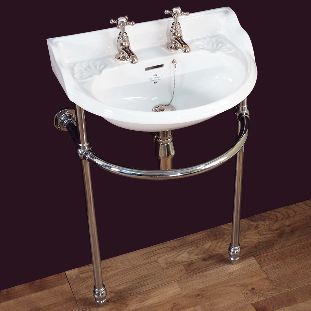 Silverdale Victorian Cloakroom Basin with Chrome Stand (530mm Wide - 2 Tap Hole) Large Image