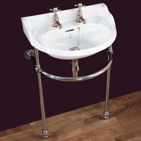 Silverdale Victorian Cloakroom Basin with Chrome Stand (530mm Wide - 2 Tap Hole)