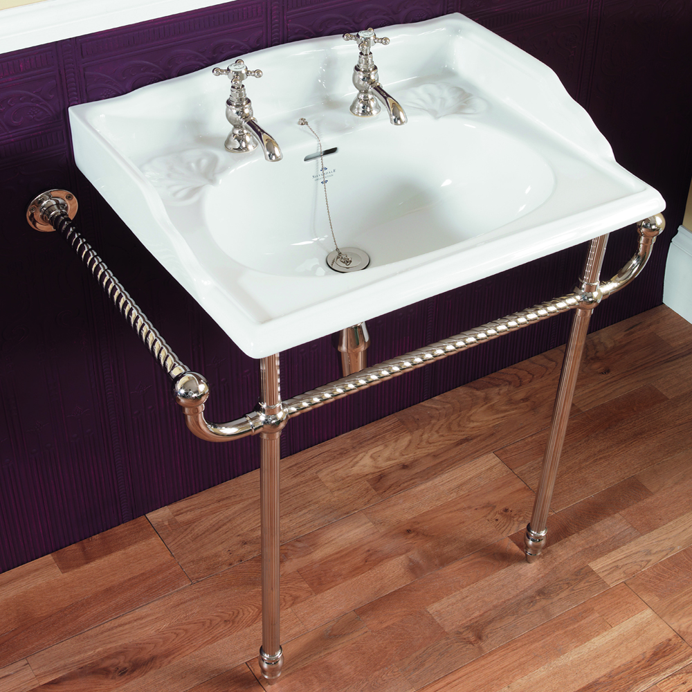 Silverdale Victorian 635mm Wide Basin with Chrome Stand profile large image view 1