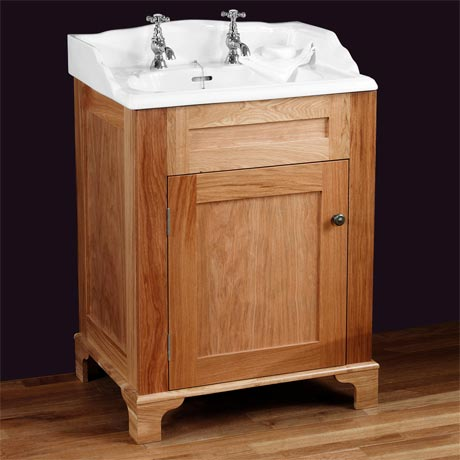 Silverdale Victorian 635mm Wide Vanity Unit - Light Oak