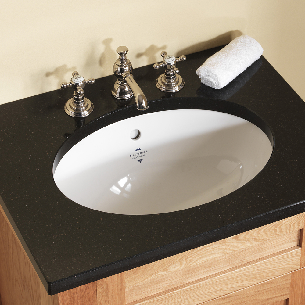 Silverdale Victorian 635mm Wide Vanity Unit with Granite Work Top 3TH - Light Oak  Profile Large Image