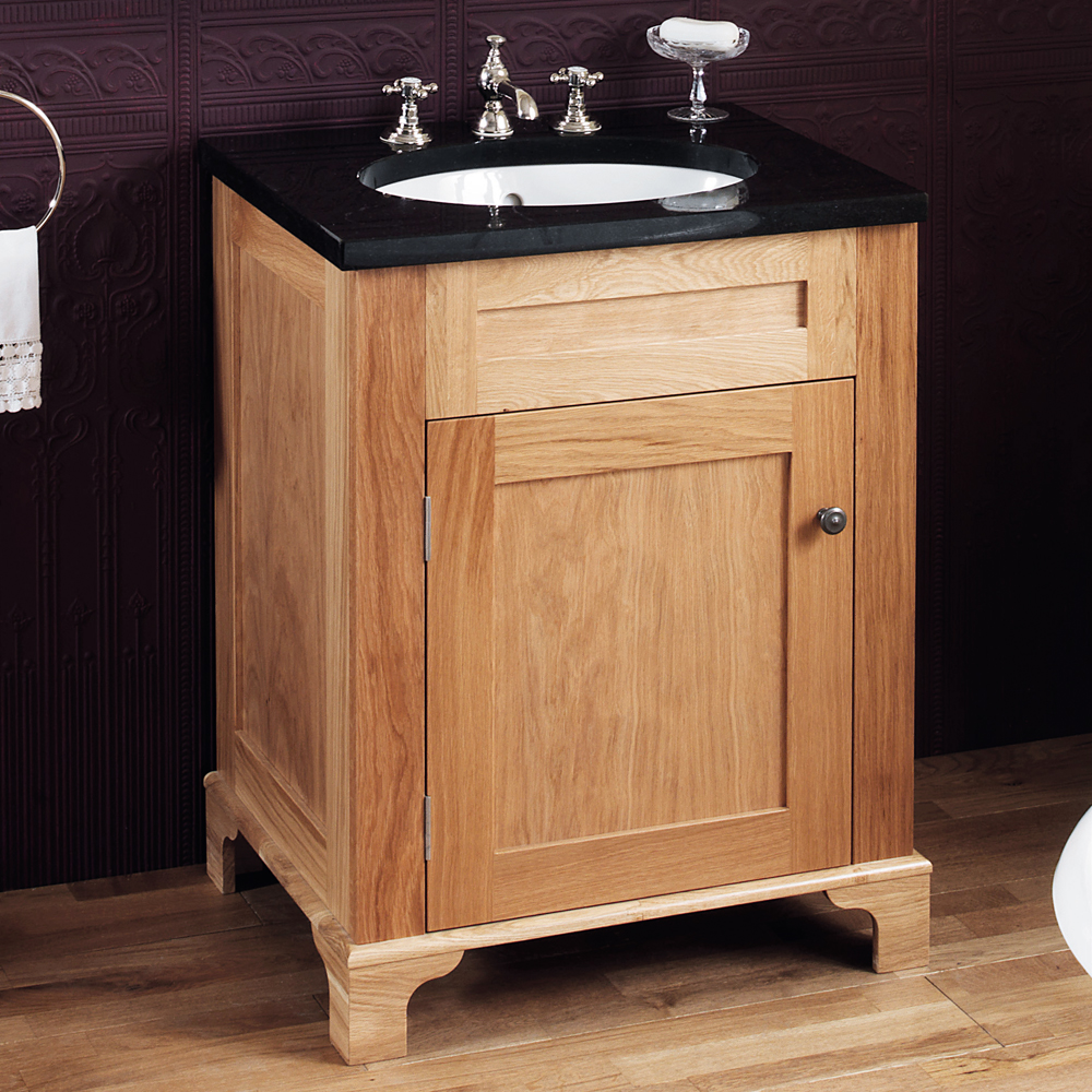 Silverdale Victorian 635mm Wide Vanity Unit with Granite Work Top 0TH - Light Oak Large Image