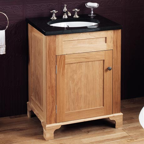 Silverdale Victorian 635mm Wide Vanity Unit with Granite Work Top 0TH - Light Oak
