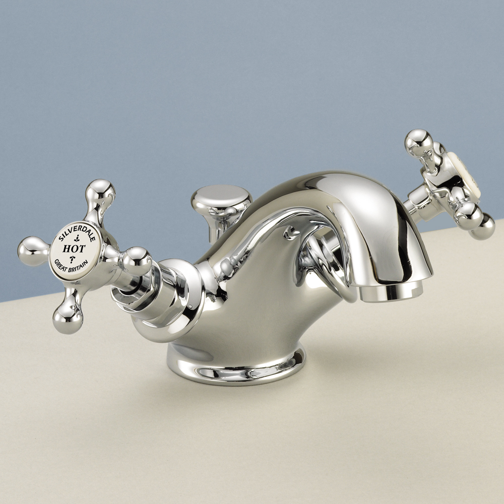 Silverdale Victorian Basin Monobloc Tap with Pop Up Waste Chrome Large Image