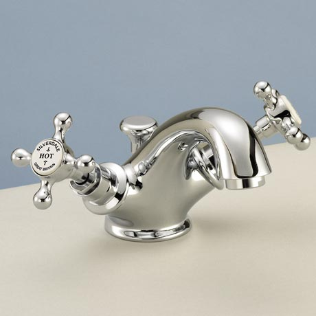 Silverdale Victorian Basin Monobloc Tap with Pop Up Waste Chrome