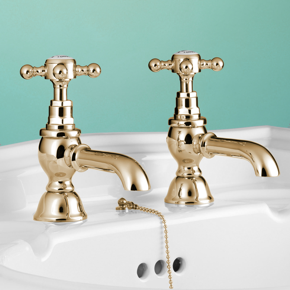 Silverdale Victorian Basin Pillar Taps Gold profile large image view 1