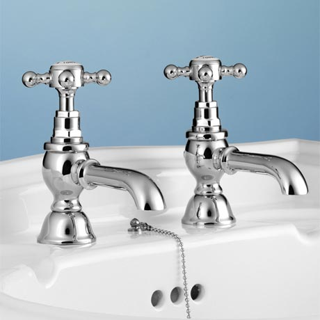 Silverdale Victorian Basin Pillar Taps Chrome